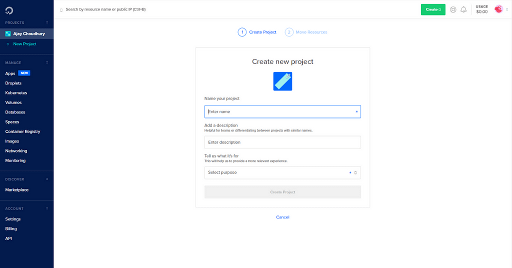 Create a new project on DigitalOcean