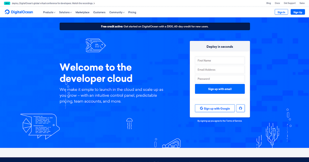 Get a $100 Credit on DigitalOcean